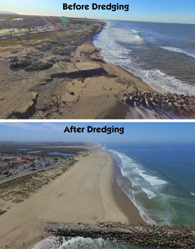 Before and after dredging photos